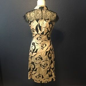 bebe Dresses - BEBE VINTAGE Silk Floral Dress With Lace Detail